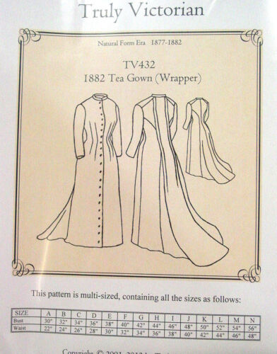 Truly Victorian Sewing Pattern TV432 1882 Tea Gown Wrapper Long dress uncut