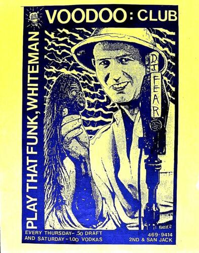 D J FEAR - VOODOO CLUB - POSTER EARLY KOZIK 1989 PUNK - Austin Original  SCARCE