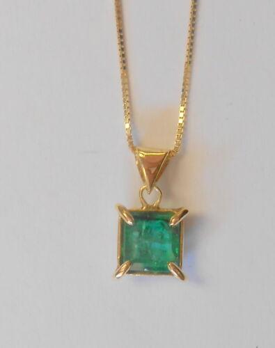 """Rare 1.25CT 14K Yellow Gold Emerald Green Square Emerald Pendant 18"""" Necklace"""