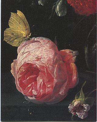 Flemish Bouquet - VINTAGE BOUQUET OF FLOWERS CRYSTAL VASE GARDEN ROSES FLEMISH NOTE CARD ART PRINT
