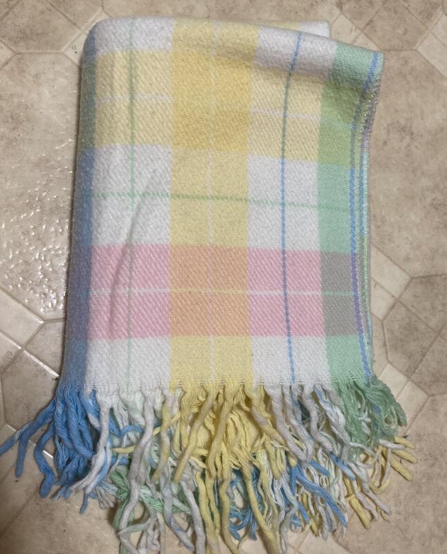 "~ Pastel Plaid baby blanket bedding fringe ends 35""x 47""L Acrylic Wool"