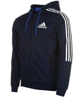 Adidas Mens 3 Stripe Essentials Zip Hoodie Fleece Hoodie Full Zip Hoody XXXL 3 Zip Hoody