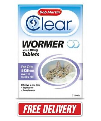 Cat Kitten WORMING Tablets Bob Martin Clear Wormer for Treatment Over 12 weeks