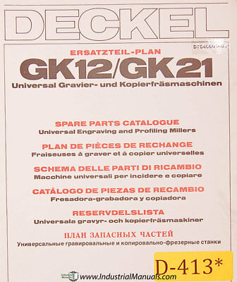 Deckel Gk12 Gk21 Universal Engraving And Profiling Spare Parts Manual 1984