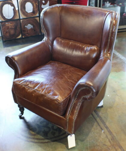 "37"" W Club Arm Chair Soft Italian Leather Vintage Brown Wood Frame"
