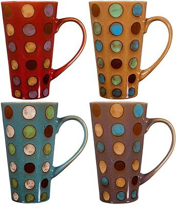 - Ceramic Coffee Mug with Handle, Set of 4 Asst, Tall Ceramic Latte Mugs 16 Oz.