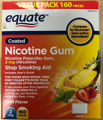 EXP 6/2021 Nicotine Gum by Equate 2 mg, Coated Fruit Wave Flavor 160 Pieces 2mg