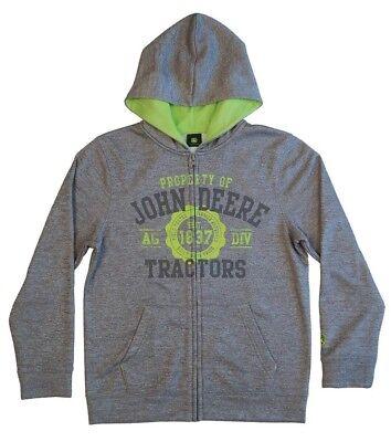 NEW John Deere Boys Gray Zip Poly Fleece Hoodie  Sweatshirt  8 10/12 14/16 John Deere Poly Fleece