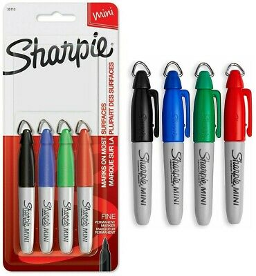 4 Ct Sharpie Mini Permanent Markers Fine Point Red Green Black Blue Sharpies