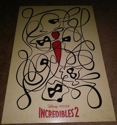 Disney Pixar Incredibles 2 13 in X 19 in Original Promo Cinemark Movie Poster