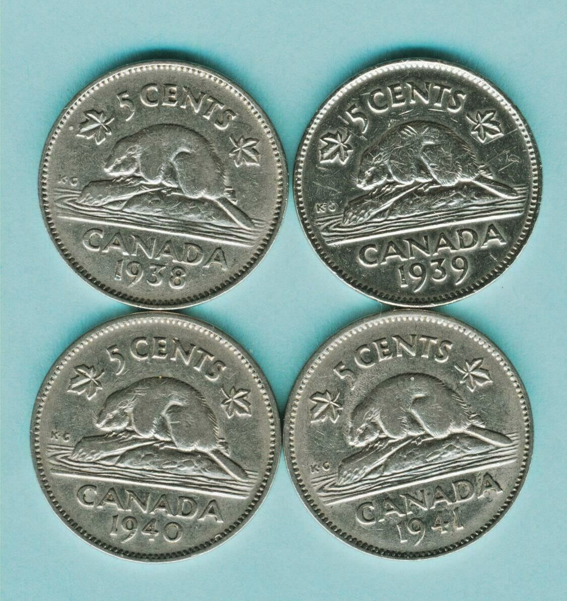 1938 1939 1940 1941 CANADA 5 Cent Nickels Coin KING GEORGE VI lot collection