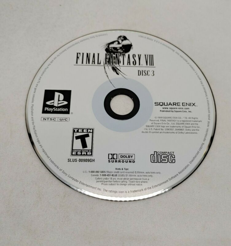 Final Fantasy VIII 8 DISC 3 ONLY ! - PS1 Game Disc Tested Clean Square Enix