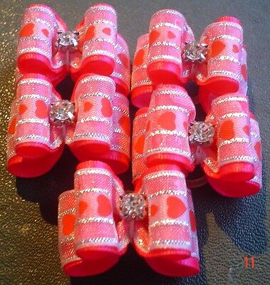 Pretty Hot Pink Love Heart Show Type Dog Grooming Bows Diamante Centre