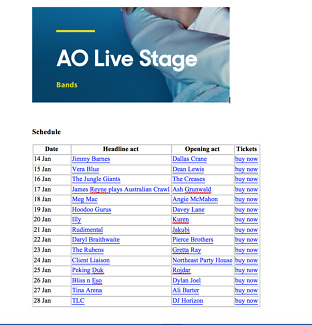 Wanted: Australian Open Live Stage session