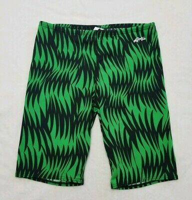 Dolphin Mens Jammer Swim Shorts 34 Black Green Training Compression (Mens Swim Jammer)