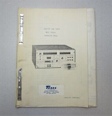 Tesec Corp. Semiconductor Equipment 8102-lv Inductive Load Tester Manual