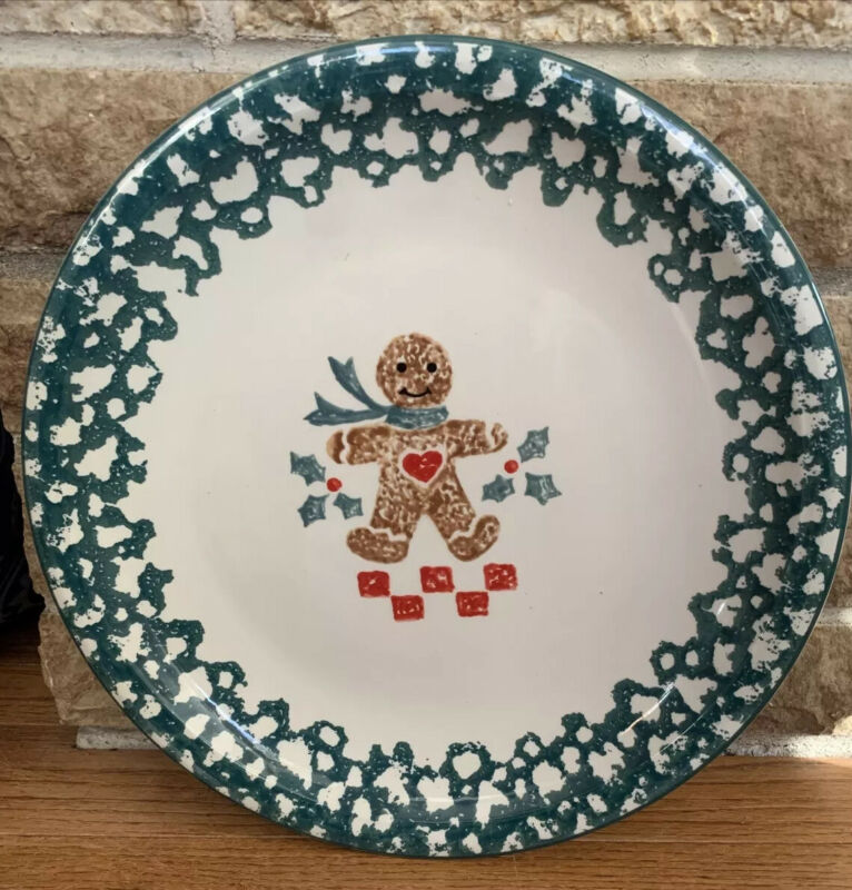 "Folk Craft Gingerbread Man Serving Plate By Tienshan 12"" Christmas Cookie Plate"