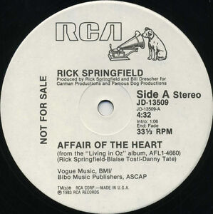 RICK-SPRINGFIELD-Affair-Of-The-Heart-1983-U-S-White-Label-Promo-12inch