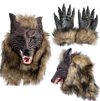 Wolf Head Mask Halloween Costumes Werewolf Mask Werewolf Gloves Animal Latex New (Halloween Costumes Werewolf Gloves)