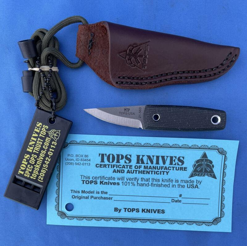TOPS Mini Tanimboca Puukko Knife Black Micarta 1095 Carbon Leather Sheath USA
