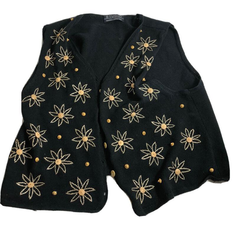 Marisa Christina Studio Cotton Black embroidered Flowers Knit Sweater vest XL