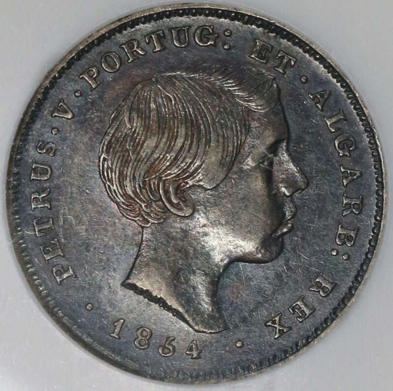 1854 NGC AU 55 Portugual 100 Reis Pedro V One Year Type Silver Coin (18122805C)