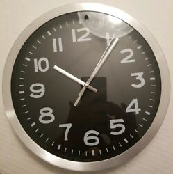 Threshold 10 Round Wall Clock Black & Silver - Brushed Metal Finish