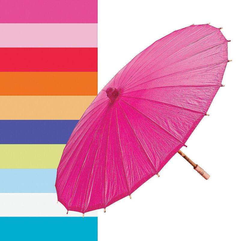 """32"""" Fuchsia / Hot Pink Paper Parasol Umbrella"""