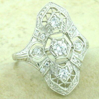Platinum Antique Style Ring (CLASSIC ART DECO PLATINUM OVER 925 STERLING SILVER ANTIQUE STYLE CZ RING, )