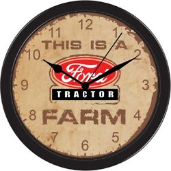 FORD FARM EQUIPMENT COLLECTIBLE LARGE BLACK WALL HANING PICTURE CLOCK