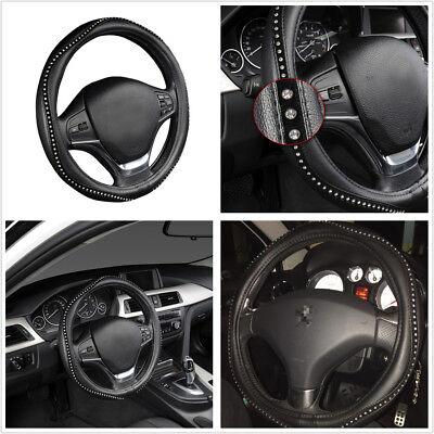 Car Styling Steering Wheel Cover Anti-slip PU Leather w/Crystal Rhinestone 38cm