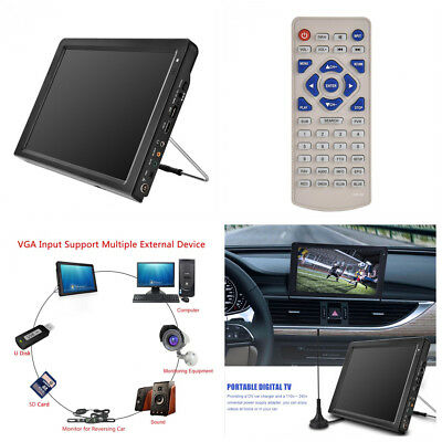 12'' TFT LED HD TV ATSC Television Digital Analog HDMI VGA Kit For Car SUV Home Atsc Led