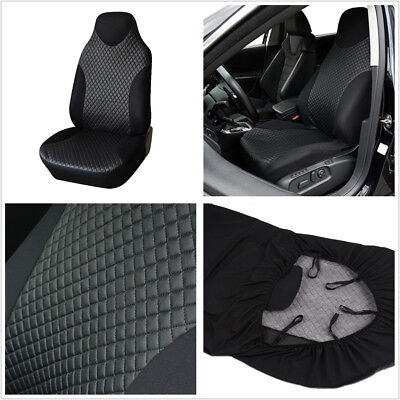 Simple Breathable Black PU Imitated Leather Car Front Seat Protector Cover Mat