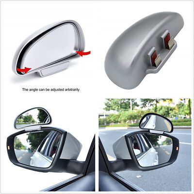 (Pair Adjustable Side Rear Mirrors Blind Spot Snap Way Rear View Mirror Silver)