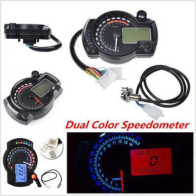 Universal Motorcycle LCD Digital Dual Color Speedometer Tachometer Odometer Gaue