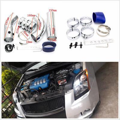 Universal 3 Car Air Filter Turbo Intake Piping ColdHot Pipe Hose Aluminium Set