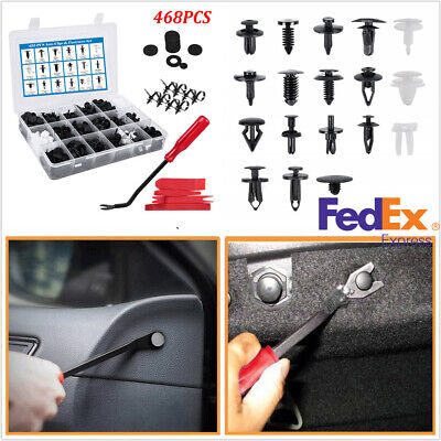 468PCS Auto Fastener Clip Car Bumper Fender Liner Sealing Strip Fixed Clips+Tool
