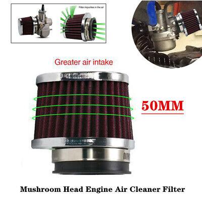 Motorcycle Carburetor 50MM Air Filter Pod Cleaner Elliptical Intake Tube w/Clamp