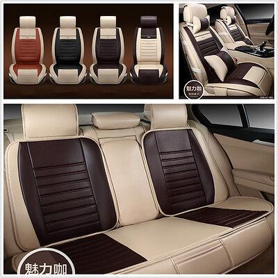 Fashionable 5-Seats Coffee Car Auto Seat Cover Mat PU Leather Chair Cushion Kit
