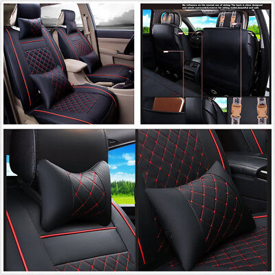 Comfortable PU Leather 5-Seater Car Front Seat Cover Protector Cushion w/Pillows