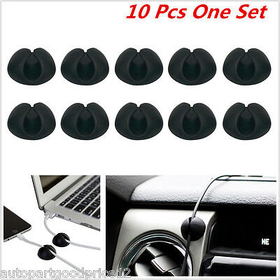 10Pcs Cables Drop Clips Ties Cable Usb Cable Charger Holder Organizer Car Office