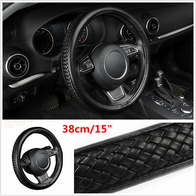 "1Pcs Black Braiding Style PU Leather Car Steering Wheel Cover 38cm/15"" Diameter"