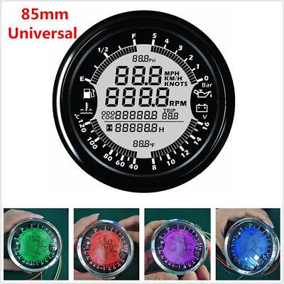 85mm GPS Speedometer Tachometer Multi-Function Water Temp/Volt/ Fuel Level Gauge