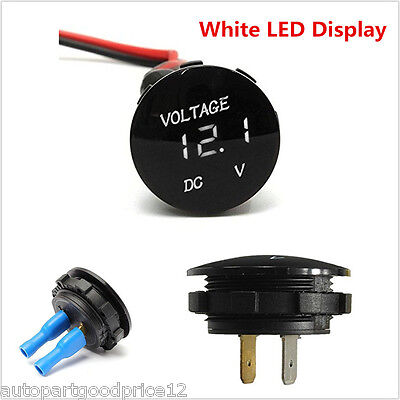Waterproof DC12V White LED Digital Display Voltmeter Auto Car Boat Voltage Meter