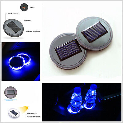 2 Pcs Car Suv Truck Blue Led Light Cover Bottom Pad Mat Solar Energy Cup Holder