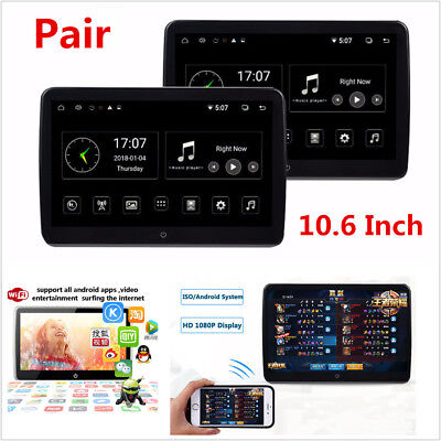 """2x 10.6"""" IPS Touch Screen Android 6.0 Car Headrest Monitor HD 1080P Video Player"""