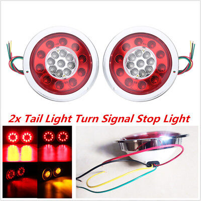 2Pc 4.3'' Round 19 LED Truck Trailer Lorry Brake Stop Turn Tail Light Waterproof