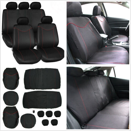 11Pcs Auto Car Low Front Back Seat Cover 5 Seats Full Set Mat w/ Headrest Covers