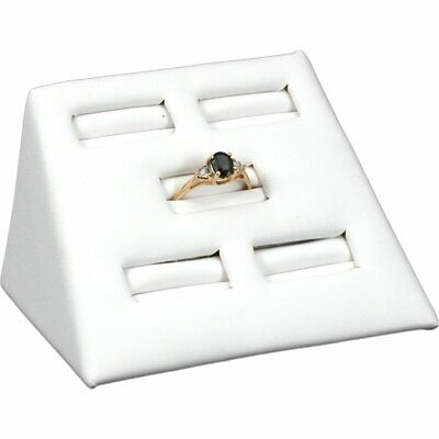 White Leather 5 Slot Ring Stand Jewelry Display 2
