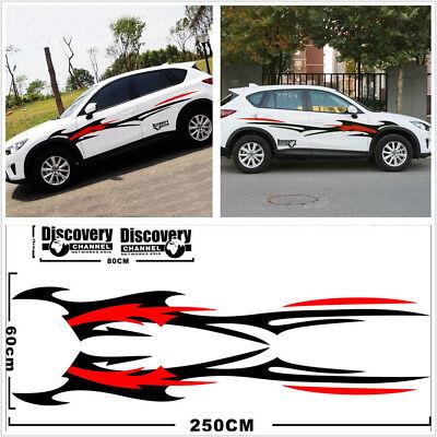 Pair Car Side Body Long Spray Flames Fire Wheel Stripe Decal Stickers Waterproof